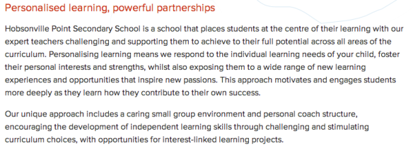 HPSS Vision of Personalised Learning