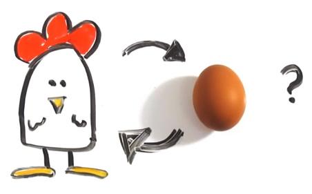 Chicken or the Egg from http://www.brainpickings.org/wp-content/uploads/2013/01/chickenegg1.jpg