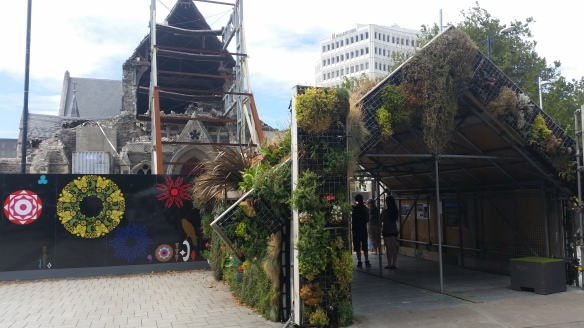 Garden Whare in front of Christchurch Cathedral