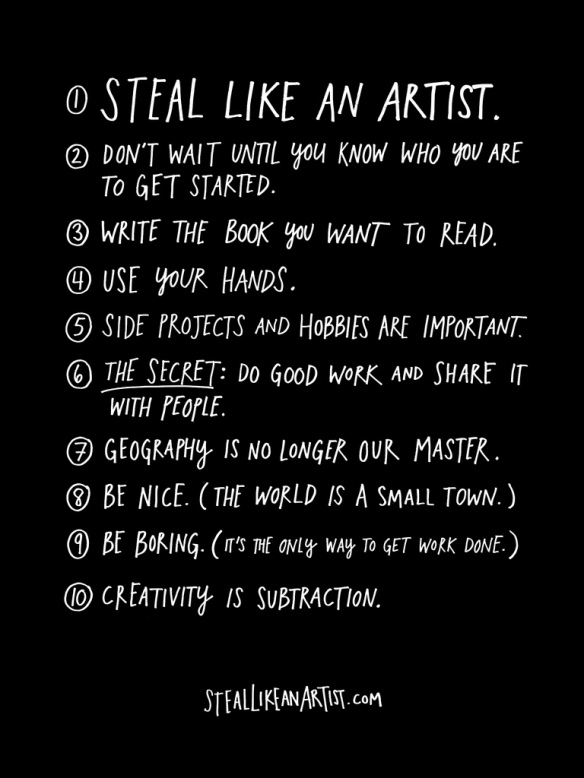 Image courtesy of the Steal Like an Artist Blogger's Kit